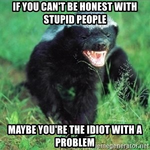 Honey Badger Actual - If you can't be honest with stupid people Maybe you're the idiot with a problem