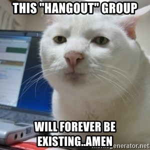 """Serious Cat - This """"hangout"""" group will forever be existing..Amen"""