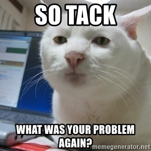 Serious Cat - SO TACK what was your problem again?