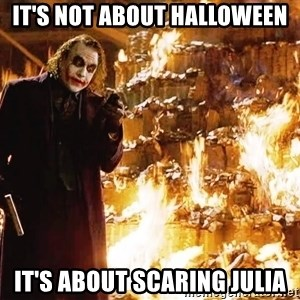 The Joker Sending a Message - It's not about Halloween It's about scaring julia
