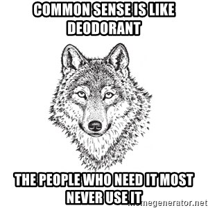 Sarcastic Wolf - common sense is like deodorant the people who need it most never use it