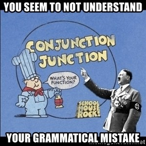Grammar Nazi - You seem to not understand your grammatical mistake