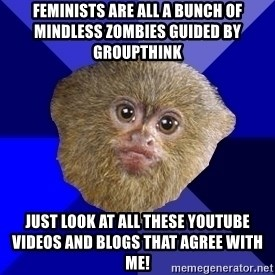 MRA Marmoset - Feminists are all a bunch of mindless zombies guided by groupthink Just look at all these YouTube videos and blogs that agree with me!