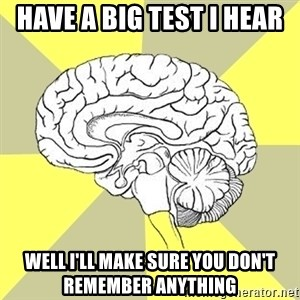 Traitor Brain - Have a big test I hear Well i'll make sure you don't remember anything