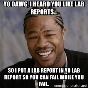 xzibit-yo-dawg - Yo dawg, I heard you like lab reports... So I put a lab report in yo lab report so you can fail while you fail.