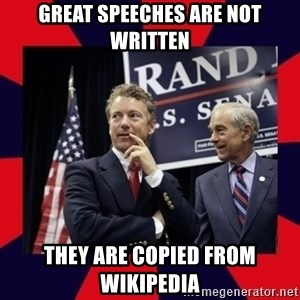 Rand Paul - Great Speeches are not written They are copied from Wikipedia