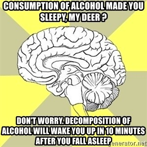 Traitor Brain - consumption of alcohol made you sleepy, my deer ? don't worry. decomposition of alcohol will wake you up in 10 minutes after you fall asleep