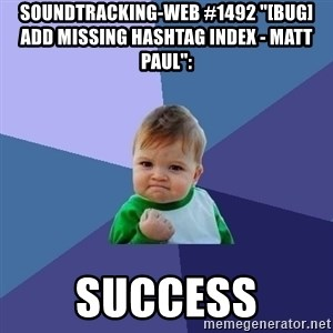 "Success Kid - soundtracking-web #1492 ""[BUG] add missing Hashtag index - Matt Paul"":  success"