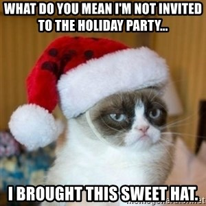 Grumpy Cat Santa Hat - WHat do you mean i'm not invited to the holiday party... i brought this sweet hat.