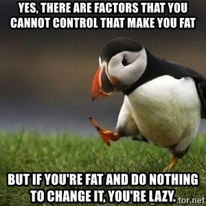 blank puffin - YES, THERE ARE FACTORS THAT YOU CANNOT CONTROL THAT MAKE YOU FAT BUT IF YOU'RE FAT AND DO NOTHING TO CHANGE IT, YOU'RE LAZY.