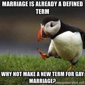 blank puffin - MARRIAGE IS ALREADY A DEFINED TERM WHY NOT MAKE A NEW TERM FOR GAY MARRIAGE?