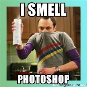 Sheldon Cooper spray can - i smell photoshop