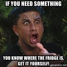 Pauly D jersey shore MTV - if you need something you know where the fridge is, get it yourself!