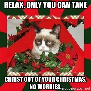 GRUMPY CAT ON CHRISTMAS - Relax, Only you can take Christ out of your Christmas.  No worries.
