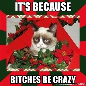GRUMPY CAT ON CHRISTMAS - It's because Bitches be crazy