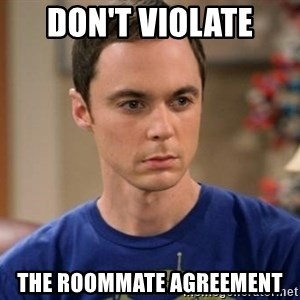 Dr. Sheldon Cooper - Wrong - Don't violate the roommate agreement