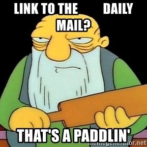 Now That's a Paddlin' - LINK TO THE          DAILY MAIL? THAT'S A PADDLIN'