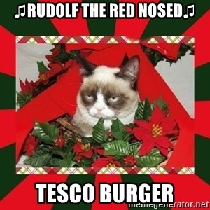 GRUMPY CAT ON CHRISTMAS - ♫Rudolf the red nosed♫ tesco burger