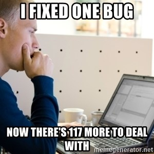Computer Programmer - i fixed one bug now THERE's 117 more to deal with