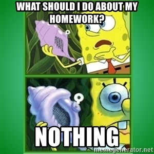 All Hail The Magic Conch - What should i do about my homework? nothing