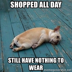 tired dog - Shopped all day still have nothing to wear