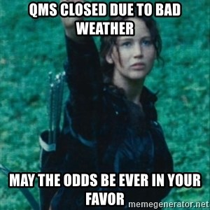 Katniss Three Finger Salute - QMS closed due to bad weather may the odds be ever in your favor