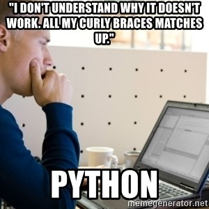 "Computer Programmer - ""I don't understand why it doesn't work. All my curly braces matches up."" Python"