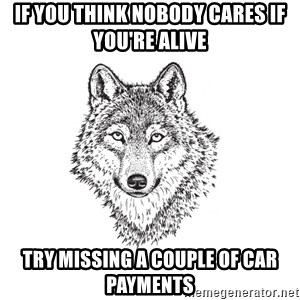 Sarcastic Wolf - If you think nobody cares if you're alive try missing a couple of car payments