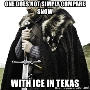 Ned Stark - One does not simply compare snow with ice in Texas