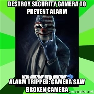 Payday 2 Logic - Destroy security camera to prevent alarm Alarm Tripped: camera saw broken camera
