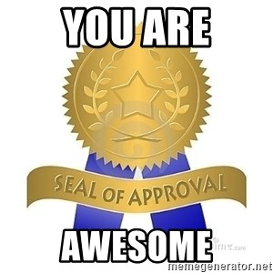 official seal of approval - you are awesome