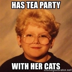 60 year old - has tea party with her cats