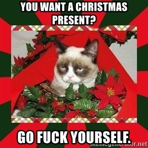GRUMPY CAT ON CHRISTMAS - YOU WANT A CHRISTMAS PRESENT? GO FUCK YOURSELF.