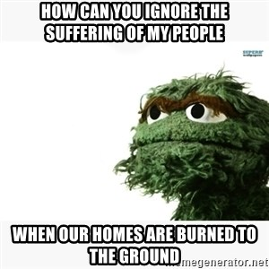 Oscar the grouch meme - how can you ignore the suffering of my people when our homes are burned to the ground