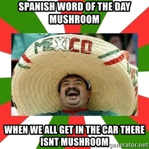 Sombrero Mexican - SPANISH WORD OF THE DAY   MUSHROOM When we all get in the car there isnt mushroom