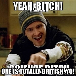 jesse pinkman science - yeah, bitch! One is totally british, yo!