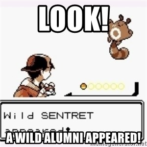 a wild pokemon appeared - Look! A wild alumni appeared!