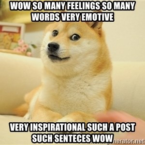 so doge - wow so many feelings so many words very emotive very inspirational such a post such senteces wow