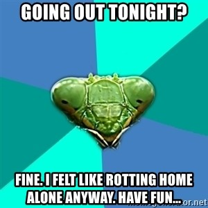 Crazy Girlfriend Praying Mantis - Going out tonight? Fine. I felt like rotting home alone anyway. Have fun...
