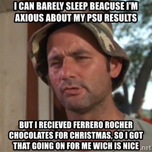 So I got that going on for me, which is nice - i can barely sleep beacuse i'm axious about my psu results but i recieved ferrero rocher chocolates for christmas, so i got that going on for me wich is nice