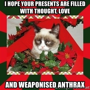 GRUMPY CAT ON CHRISTMAS - I hope your presents are filled with thought, love and weaponised anthrax