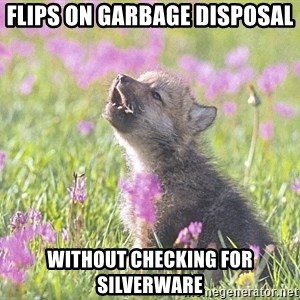 Baby Insanity Wolf - Flips on garbage disposal Without checking for silverware