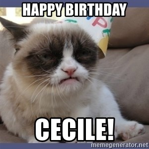 Birthday Grumpy Cat - Happy Birthday Cecile!