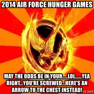 Typical fan of the hunger games - 2014 Air Force Hunger Games May the odds be in your.....lol......Yea right...you're screwed...here's an arrow to the chest instead!