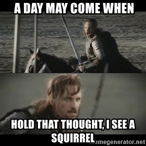a day may come -  A day may come when hold that thought, i see a squirrel