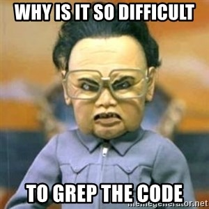 Kim Jong Il Team America - why is it so difficult to grep the code