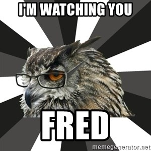 ITCS Owl - I'm watching you Fred