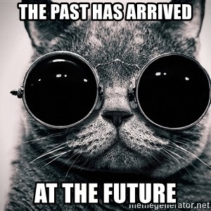 sunglasses cat - THe past has arrived at the future