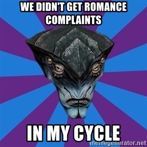 Javik the Prothean - We didn't get romance complaints In my cycle