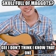 Guitar douchebag - skull full of maggots?  gee i don't think i know that one